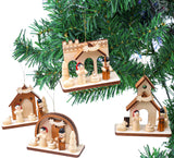BRUBAKER 4-Pcs Cribs Pendant - Christmas Tree Hanging Ornaments Set - Mary and Joseph with Jesus - Wooden Christmas Tree Decorations - Hand Painted