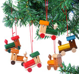 BRUBAKER 6-Pcs Locomotive Pendant - Christmas Tree Hanging Ornaments Set - Christmas Train - Wooden Christmas Tree Decorations