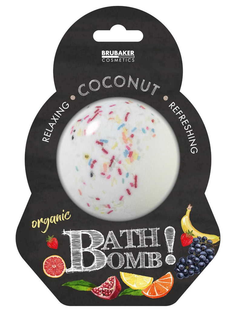 "BRUBAKER Huge Handmade Fizzing Bath Bomb ""Coconut"" - Bath Fizzer - All Natural, Vegan, Organic Ingredients"