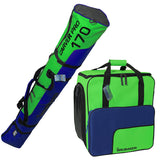 BRUBAKER Combo Ski Boot Bag and Ski Bag for 1 Pair of Ski, Poles, Boots, Helmet, Gear and Apparel - 170 cm - Green/Blue