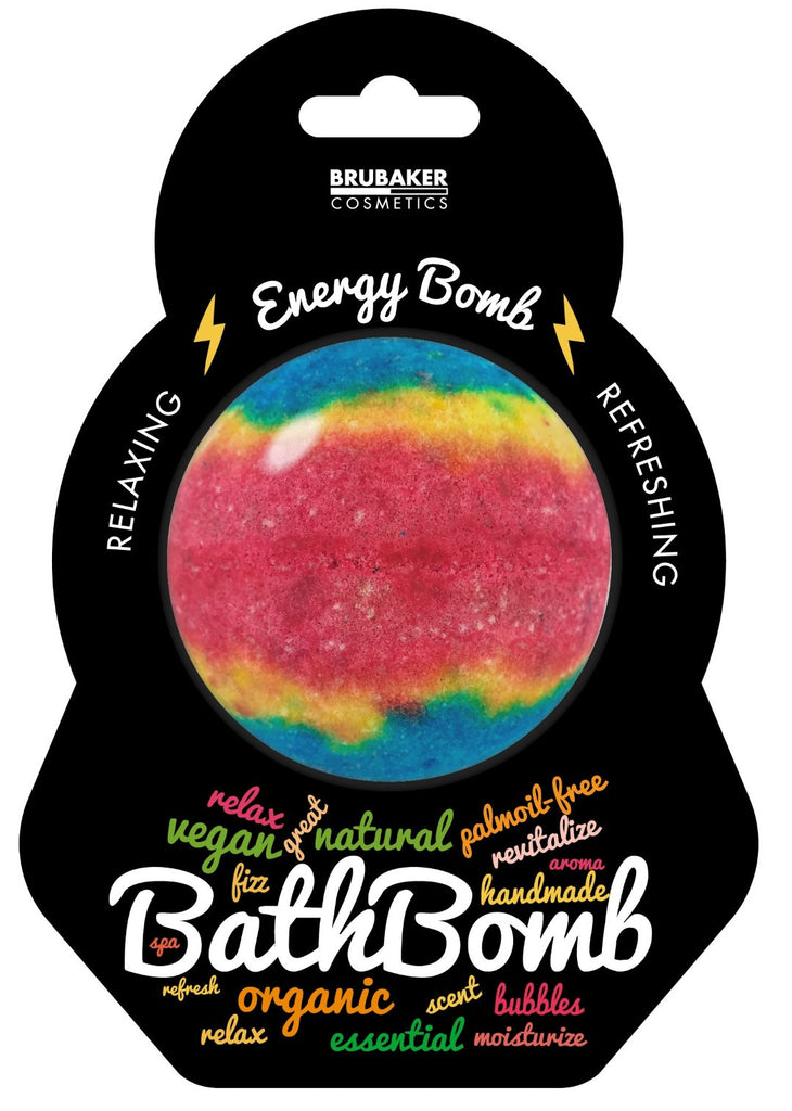 "BRUBAKER Huge Handmade Fizzing Bath Bomb ""Energy"" - Bath Fizzer - All Natural, Vegan, Organic Ingredients"