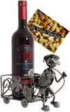 "BRUBAKER Wine Bottle Holder ""Winemaker"" - Metal Sculpture - Wine Rack Decor - Tabletop - With Greeting Card"