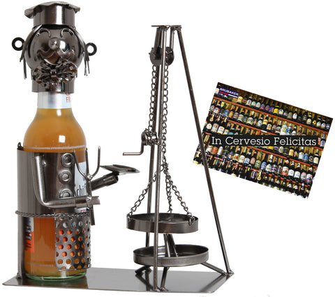 "BRUBAKER Wine Bottle Holder ""Swiveling Grill"" - Metal Sculpture - Wine Rack Decor - Tabletop - With Greeting Card"