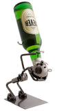 "BRUBAKER Wine Bottle Holder ""Drinker"" - Metal Sculpture - Wine Rack Decor - Tabletop - With Greeting Card"