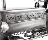 "BRUBAKER Wine Bottle Holder ""Tractor"" - Metal Sculpture - Wine Rack Decor - Tabletop - With Greeting Card"