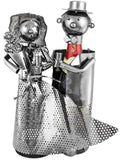"BRUBAKER Wine Bottle Holder ""Wedding Couple"" - Metal Sculpture - Wine Rack Decor - Tabletop - With Greeting Card"
