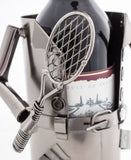 "BRUBAKER Wine Bottle Holder ""Tennis Player"" - Metal Sculpture - Wine Rack Decor - Tabletop - With Greeting Card"