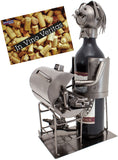 "BRUBAKER Wine Bottle Holder ""Barbecue"" - Metal Sculpture - Wine Rack Decor - Tabletop - With Greeting Card"
