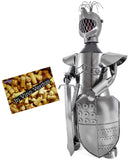"BRUBAKER Wine Bottle Holder ""Knight"" - Metal Sculpture - Wine Rack Decor - Tabletop - With Greeting Card"