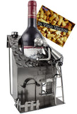"BRUBAKER Wine Bottle Holder ""House with Roofer"" - Metal Sculpture - Wine Rack Decor - Tabletop - With Greeting Card"