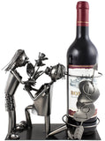 "BRUBAKER Wine Bottle Holder ""Marriage Proposal"" - Metal Sculpture - Wine Rack Decor - Tabletop - With Greeting Card"
