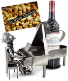 BRUBAKER Wine Bottle Holder 'Grand Piano' - Table Top Metal Sculpture - with Greeting Card