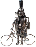 "BRUBAKER Wine Bottle Holder ""Cyclist"" - Metal Sculpture - Wine Rack Decor - Tabletop - With Greeting Card"