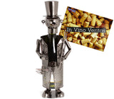 "BRUBAKER Wine Bottle Holder ""Chimney Sweeper"" - Metal Sculpture - Wine Rack Decor - Tabletop - With Greeting Card"