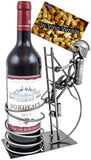 "BRUBAKER Wine Bottle Holder ""Firefighter"" - Metal Sculpture - Wine Rack Decor - Tabletop - With Greeting Card"