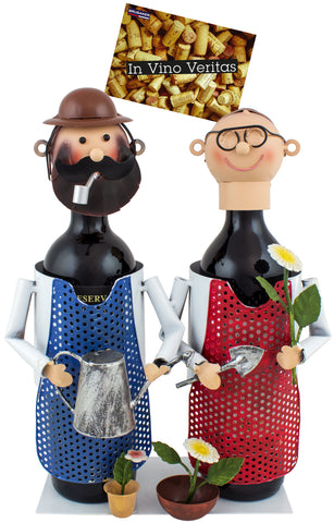 "BRUBAKER Wine Bottle Holder ""Gardener Couple"" - Metal Sculpture - Wine Rack Decor - Tabletop - With Greeting Card"