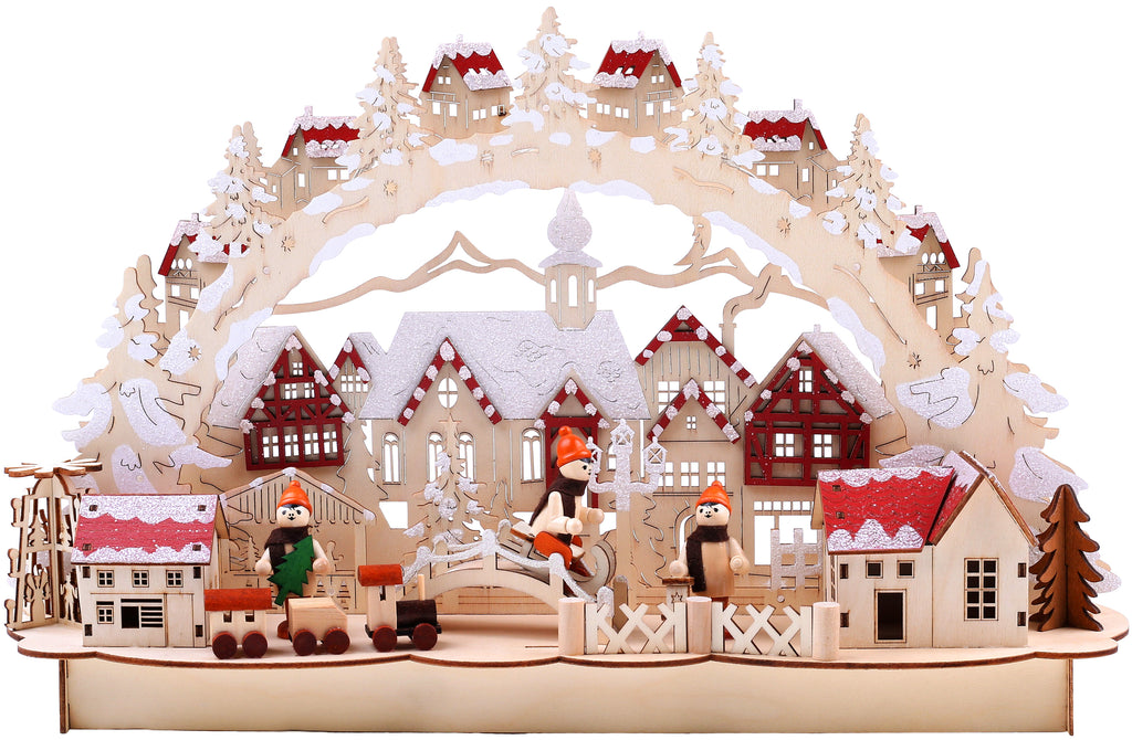 BRUBAKER 3D LED Candle Arch - Winter Landscape with Old Town - LED Lighting - Natural Wood - 17.1 x 10.6 x 4 Inches - Hand Painted