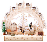 BRUBAKER 3D LED Candle Arch - Winter Landscape with Village - LED Lighting - Natural Wood 10.8 x 9.7 x 3.4 Inches - Hand Painted