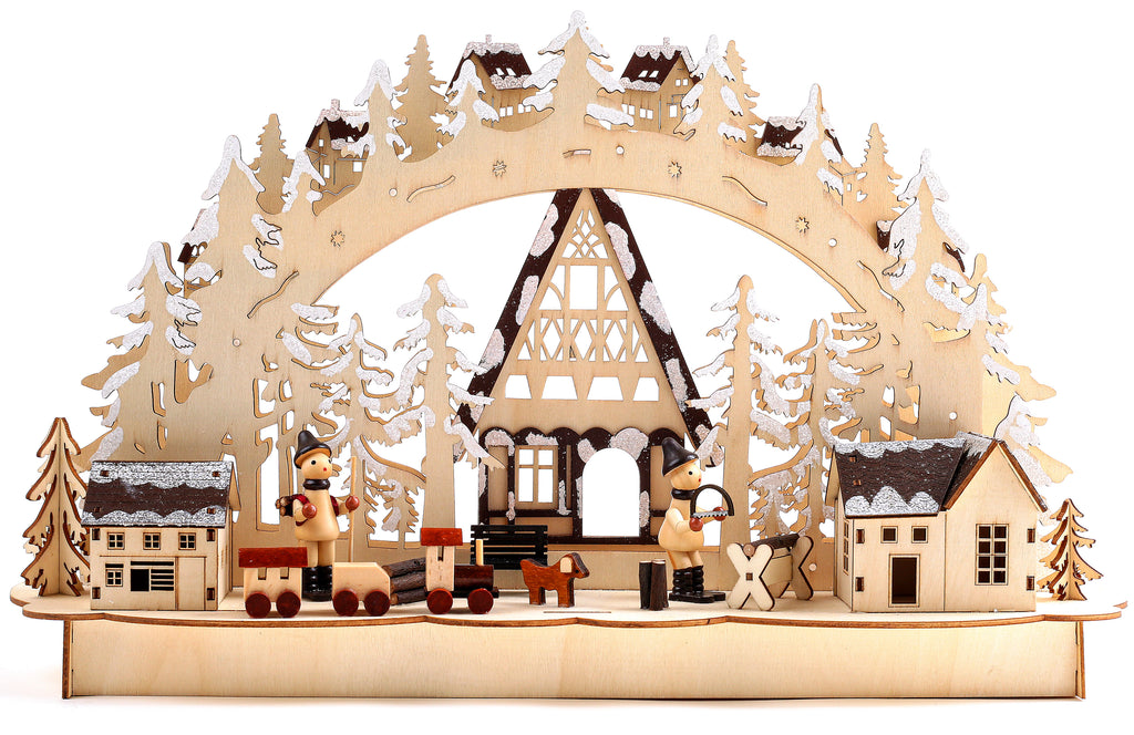 BRUBAKER 3D LED Candle Arch - Winter Landscape with Woodworkers - LED Lighting - Natural Wood - 17.1 x 10.6 x 4 Inches - Hand Painted