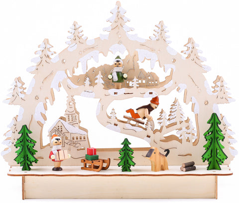 BRUBAKER 3D LED Candle Arch - Winter Landscape with Church - LED Lighting - Natural Wood - 10.6 x 9.5 x 3.4 Inches - Hand Painted