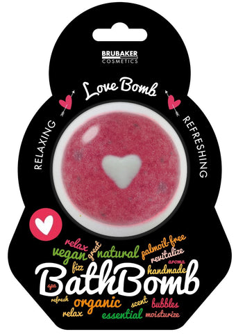 "BRUBAKER Huge Handmade Fizzing Bath Bomb ""Love"" - Bath Fizzer - All Natural, Vegan, Organic Ingredients"