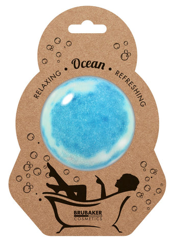 "BRUBAKER Huge Handmade Fizzing Bath Bomb ""Ocean"" - Bath Fizzer - All Natural, Vegan, Organic Ingredients"