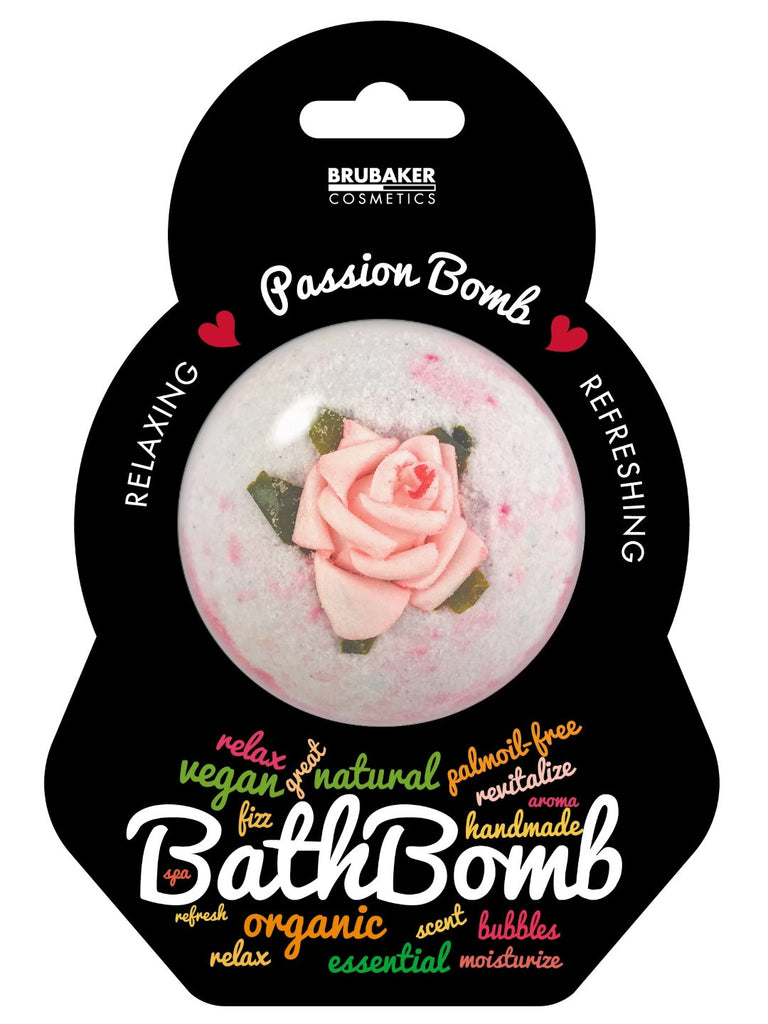 "BRUBAKER Huge Handmade Fizzing Bath Bomb ""Passion"" - Bath Fizzer - All Natural, Vegan, Organic Ingredients"