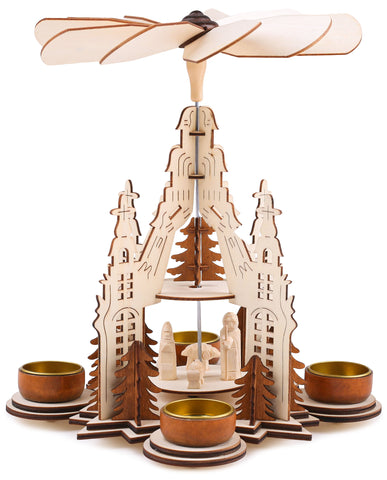 BRUBAKER Wooden Christmas Pyramid 11.4 Inches - Nativity - 2 Tier Carousel - Tea Light Pyramid with 4 Golden Metal Tea Light Holders - Natural Wood - Carved Figures