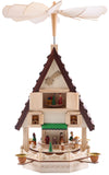BRUBAKER Wooden Christmas Pyramid 19.3 Inches - Nativity Play - 4 Tier Carousel with 4 Golden Metal Candle Holders - Natural Wood - Hand Painted Figures