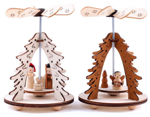 BRUBAKER Set of 2 Wooden Christmas Pyramids 1-Tier Carousel - 2 Motifs: Angel and Nativity - Wooden Pine Tree Pyramids - Each 3.1 x 4.5 Inches