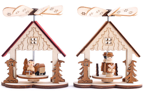 BRUBAKER Set of 2 Wooden Christmas Pyramids 1-Tier Carousel - 2 Motifs: Angel and Carol Singers - Wooden Crib Pyramids - Each 3.5 x 4.1 Inches