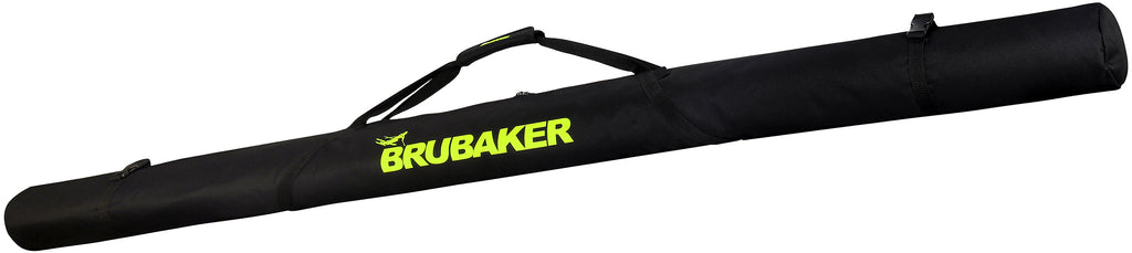 BRUBAKER XC Touring Cross-Country Ski Bag For 1 Pair of Skis and 1 Pair of Poles -  Black / Neon Yellow