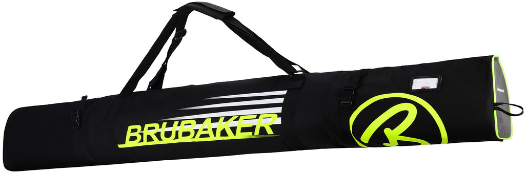 BRUBAKER Ski Bag Carver Champion For 1 Pair of Skis and Poles - Black / Neon Yellow