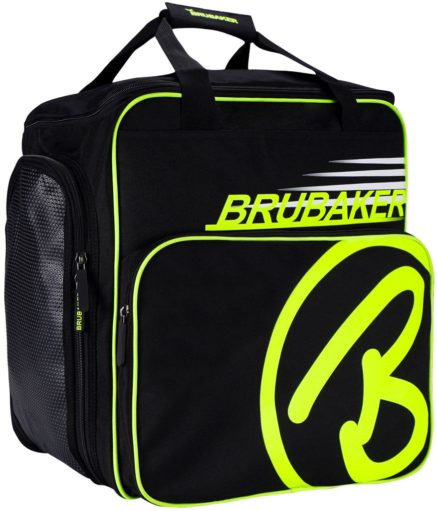BRUBAKER Ski Boot Bag Super Champion Helmet Bag Backpack With Shoe Compartment - Black / Neon Yellow