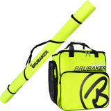 BRUBAKER Set of Cross-Country Ski Bag and Ski Boot Bag XC Touring Champion - For 1 Pair of Skis + Poles + Boots + Helmet - Neon Yellow / Black