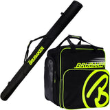 BRUBAKER Set of  Cross-Country Ski Bag and Boot Bag XC Touring Champion - For 1 Pair of Skis + Poles + Boots + Helmet -  Black / Neon Yellow