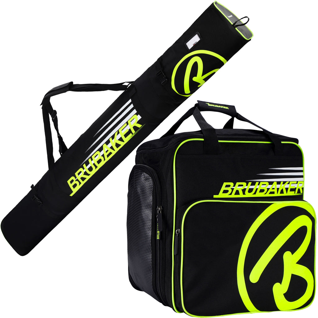 BRUBAKER Set of Ski Bag and Ski Boot Bag Carver Champion - For 1 Pair of Skis + Poles + Boots + Helmet -  - Black / Neon Yellow