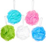 5-Pack BRUBAKER Cosmetics Premium Bath & Shower Sponge - Exfoliating Body Pouf - with String for Hanging