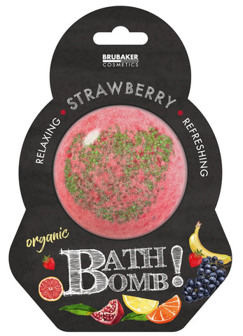 "BRUBAKER Huge Handmade Fizzing Bath Bomb ""Strawberry"" - Bath Fizzer - All Natural, Vegan, Organic Ingredients"