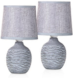 BRUBAKER Table or Bedside Lamps - Gray - Ceramic Base in Two-Tone Stone Finish - 10.6 Inches - Pack of 1 or 2