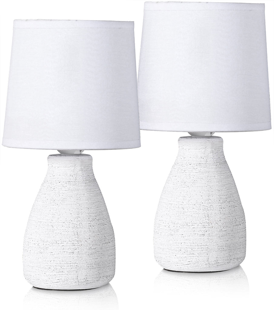 Set of 2 BRUBAKER Table or Bedside Lamps - White - Ceramic Base In Stone Finish - 11 Inches
