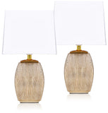 BRUBAKER Table or Bedside Lamps - Gold/White - Ceramic Base - 15 Inches - Pack of 1 or 2