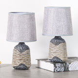 Set of 2 BRUBAKER Table or Bedside Lamps - Gray/Dark Gray - Ceramic Base In Two-Tone Stone Finish - 10.8 Inches