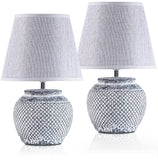 Set of 2 BRUBAKER Table or Bedside Lamps - White - Ceramic Base In Two-Tone Vintage Finish - 11.8 Inches