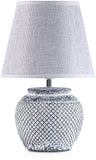 BRUBAKER Table or Bedside Lamps - White - Ceramic Base In Two-Tone Vintage Finish - 11.8 Inches - Pack of 1 or 2