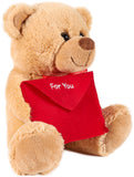 BRUBAKER Teddy Plush Bear with Red Envelope - For You - 9.84 Inches - Cuddly Toy - Stuffed Animal - Brown