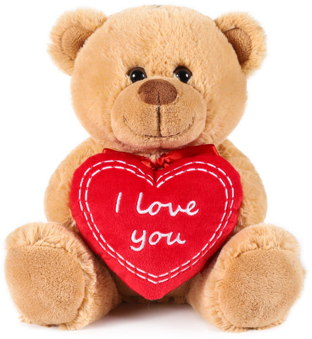 BRUBAKER Teddy Plush Bear With Red Heart - I Love You - 9.84 Inches - Cuddly Toy - Stuffed Animal - Brown