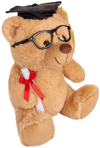 BRUBAKER Teddy Bear Stuffed Plush Animal with Glasses, Diploma and Square Academic Cap - Cuddly Toy for Graduation, High School or University - 9.84 Inches (25 cm) - Brown