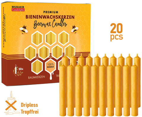 BRUBAKER 100% Pure Beeswax Christmas Tree Candles for Pyramids & Chimes - Honey colour - Pack of 20 in a Gift Box