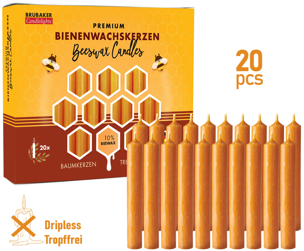 BRUBAKER 10% Beeswax Christmas Tree Candles for Pyramids & Chimes - Honey colored - Pack of 20 in a Gift Box